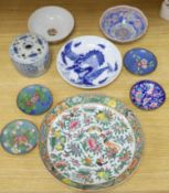 A quantity of Chinese and Japanese ceramics, including a blue and white 'dragon' dish, a Cantonese