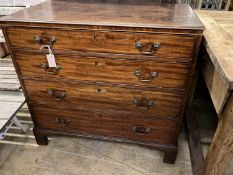 A late George III mahogany straight front chest, of four long graduated drawers, width 93cm, depth