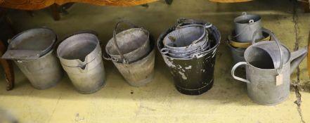 A quantity of galvanised buckets, feeders etc
