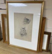 Louis Wain (1860-1939), pencil sketch, Studies of a sleeping tabby cat, further studies verso, Chris