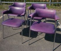 """A set of four 1960's chrome framed """"Pel"""" style elbow chairs"""