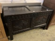 An 18th century carved oak coffer with twin panelled front, width 125cm, depth 55cm, height 75cm