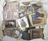 A quantity of religious artefacts including icons, crucifixes, etc.