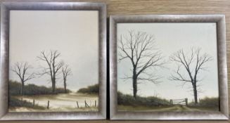 Michael John Hill, 2 oils on canvas board, Trees in landscapes, signed and dated '80, 24 x 27cm