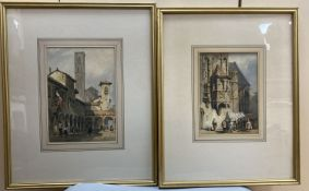 William Henry Harriott (fl.1811-39), 2 watercolours, Bologna and a French market stall, initialled