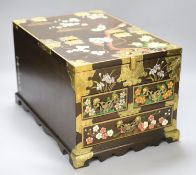 A Chinese wood and polychrome lacquer dressing box, 37cm