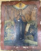 Russian School, tempera on panel, Icon with standing figure and attendants, inscribed, 37 x 31cm