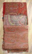 A 19th century Paisley shawl and two part Paisley shawls