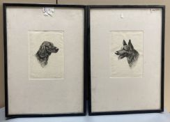 James Grant, pair of drypoint etchings, 'British Favourites - Irish Setter and Alsatian', signed