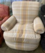 A modern Victorian style armchair, upholstered in cream ground chequered fabric, width 90cm, depth