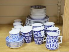 A group of Royal Crown Derby Wilmot blue and white coffee and tea wares