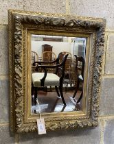 A rectangular giltwood and gesso wall mirror, width 45cm, height 56cm