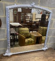 A Victorian silvered giltwood and gesso overmantel mirror, width 115cm, height 111cm