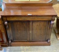 A Victorian rosewood chiffonier (lacking superstructure), width 107cm, depth 44cm, height 100cm