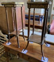A near pair of French marble top two tier plant stands, larger width 30cm, depth 30cm, height 82cm