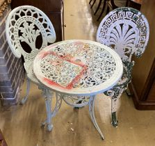 A painted aluminium circular garden table, 60cm diameter and two chairs