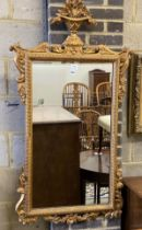 A 19th century giltwood and gesso wall mirror, width 73cm, height 138cm