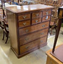 A late Victorian mahogany chest of eight drawers, length 116cm, depth 58cm, height 128cm