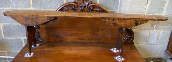 An 18th century elm bench seat, length 183cm, height 49cm