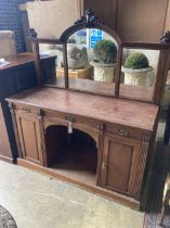 A late Victorian mahogany mirrored back sideboard, width 152cm depth 54cm height 174cm