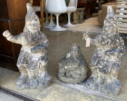 A pair of reconstituted stone garden gnomes, height 62cm together with a seated Buddha