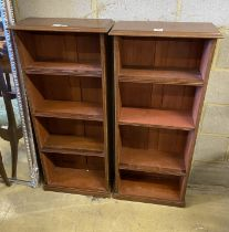 A pair of mahogany open fronted bookcases, width 53cm, depth 24cm, height 120cm