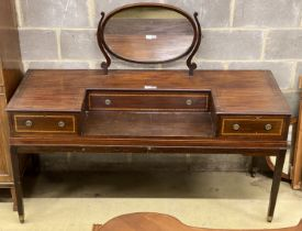 A mid 19th century mahogany dressing table, converted from a square piano, decorated with