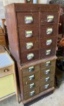 A pair of oak filing chests, width 61cm, depth 57cm, height 74cm