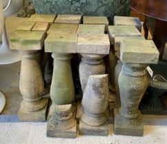 Fourteen terracotta baluster pillars, height 48cm