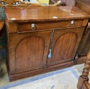A late Regency mahogany chiffonier, lacking superstructure, width 94cm, depth 33cm, height 84cm