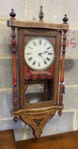 A 19th century American drop dial wall clock, width 40cm, height 90cm