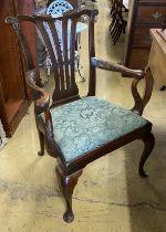 A George III mahogany elbow chair, width 74cm, depth 56cm, height 104cm