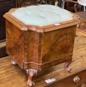 A Victorian mahogany buttoned box topped stool (formerly a commode), width 46cm, depth 40cm,