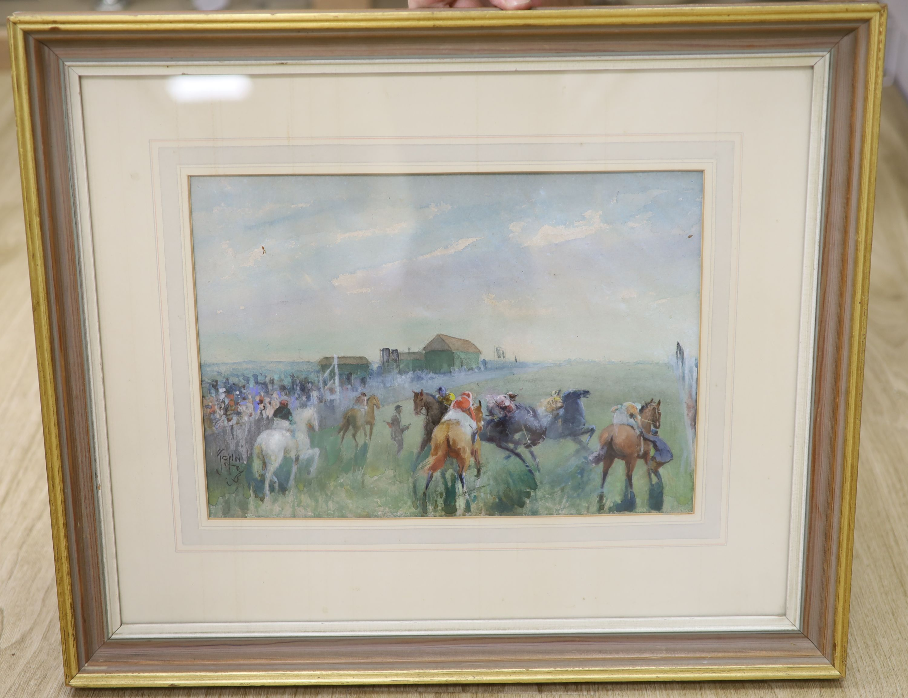 John Beer (1883-1915), watercolour, Horse race before the start, signed, 25 x 34cm - Image 3 of 3