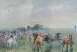 John Beer (1883-1915), watercolour, Horse race before the start, signed, 25 x 34cm