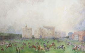 John Beer (1883-1915), watercolour, Newmarket, signed, 35 x 54cm
