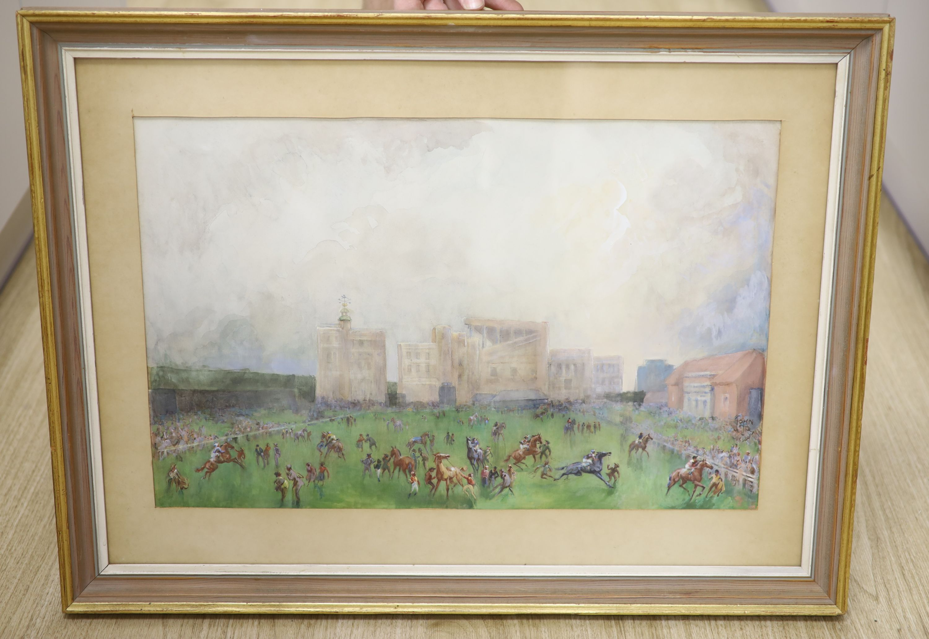 John Beer (1883-1915), watercolour, Newmarket, signed, 35 x 54cm - Image 3 of 3