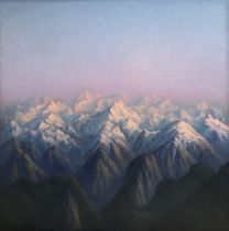 Tobit Roche (1954) Mountains, 2019 oil on canvas 100 x 100 cms