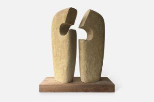 Bernard McGuigan (b.1956) Communication/Conversation Piece, 2014-15 limestone on hardwood base