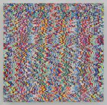 Maibritt Ulvedal Bjelke (b.1967) Chroma-flirt no.65, 2019 acrylic, oil, paper on canvas40 x 40 cm