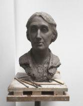 Suzie Zamit (b.1957) Portrait of Virginia Woolf, 2021 bronze first in an edition of 25 H36 x W26 cm