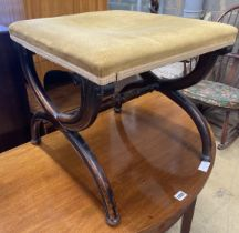 An early Victorian mahogany X frame dressing stool, length 45cm, depth 42cm, height 41cm