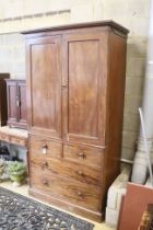 A Victorian mahogany linen press, formerly part of a larger wardrobe, width 112cm. depth 66cm.