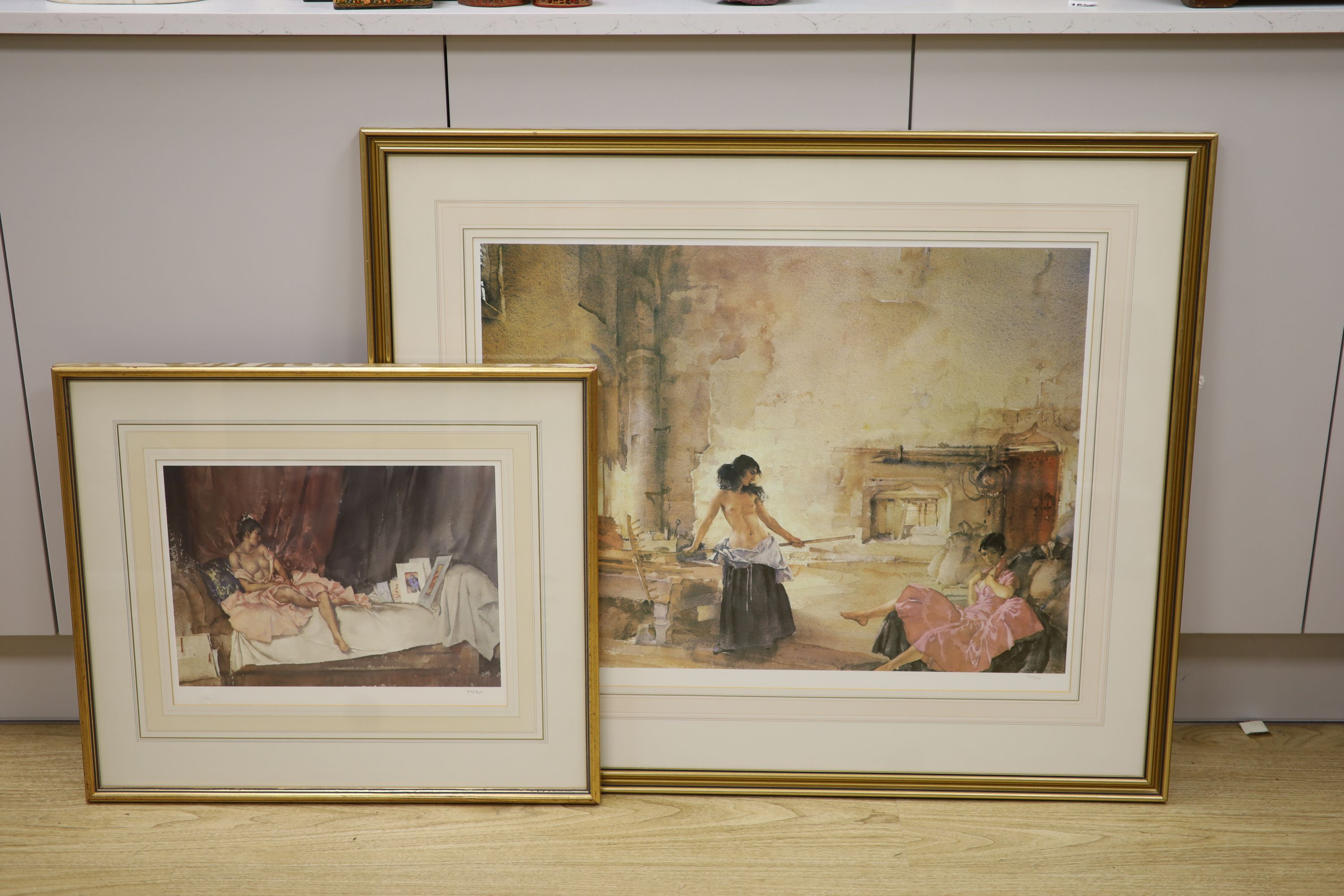 William Russell Flint, two limited edition prints, In a Burgundian Granary & Cecelia and her