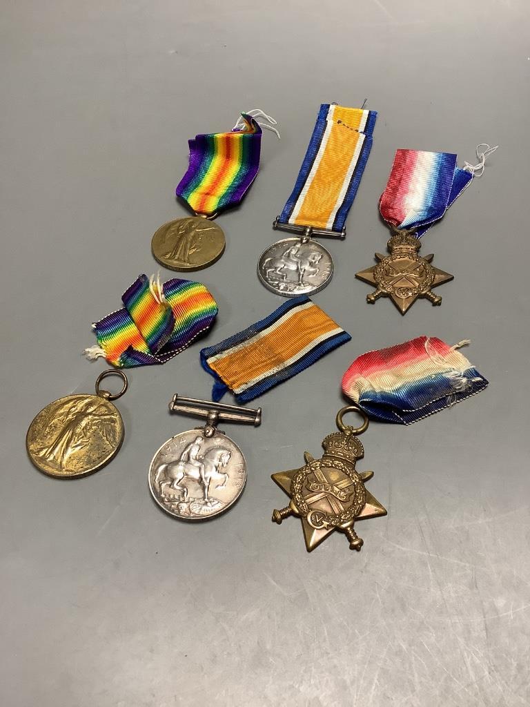 Two WW1 trios to SR3929 Gnr. G.Gration, R.A. & Y-707 Pte. J.Green, Kings Royal Rifle Corps - Image 2 of 4