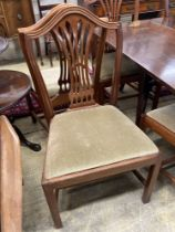 A set of eight reproduction George III style mahogany pierced slat back dining chairs