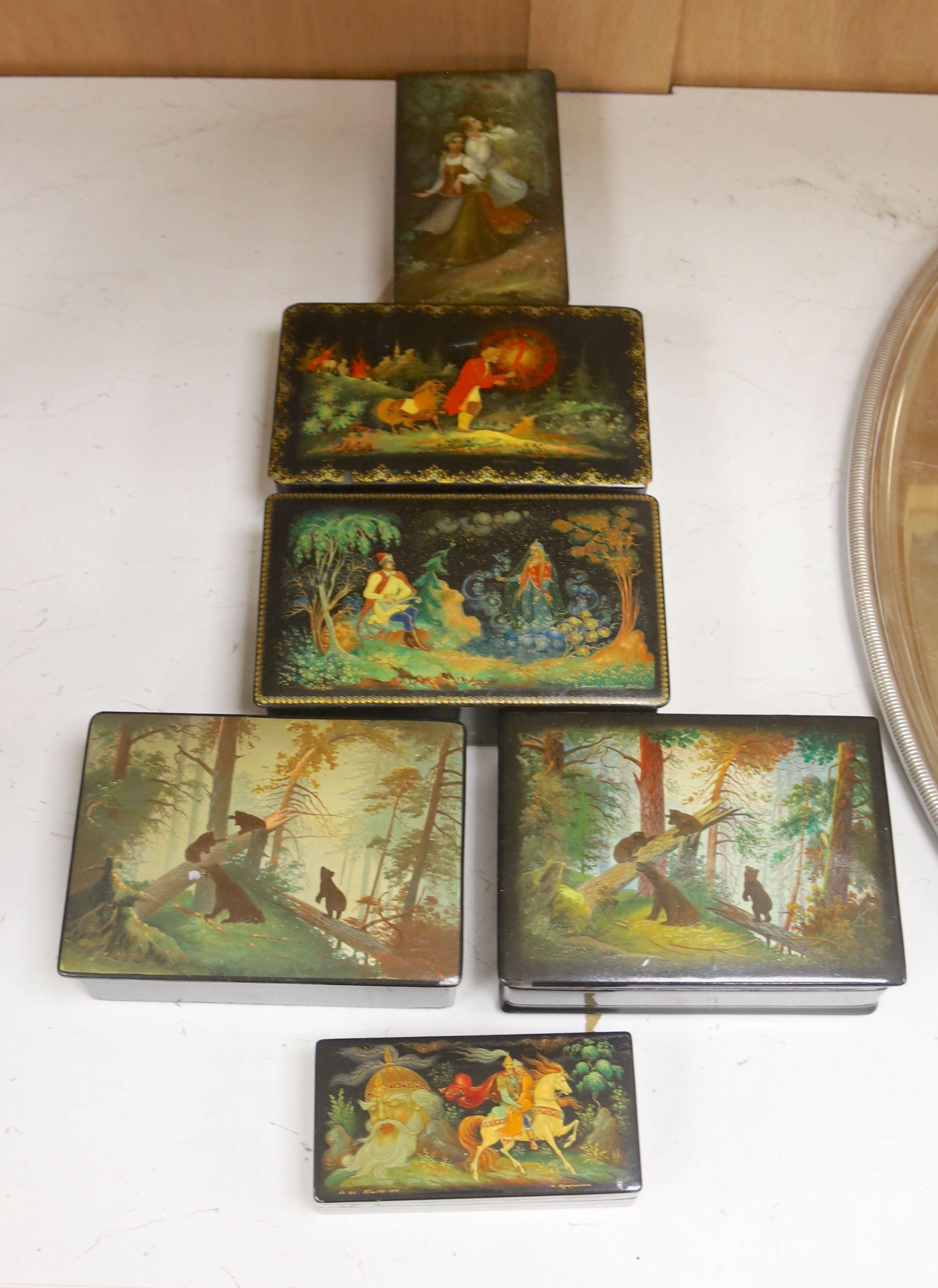 Six various Russian painted papier mache boxes