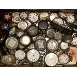 A collection of mainly early 20th century and later silver or white metal fob and wrist watches