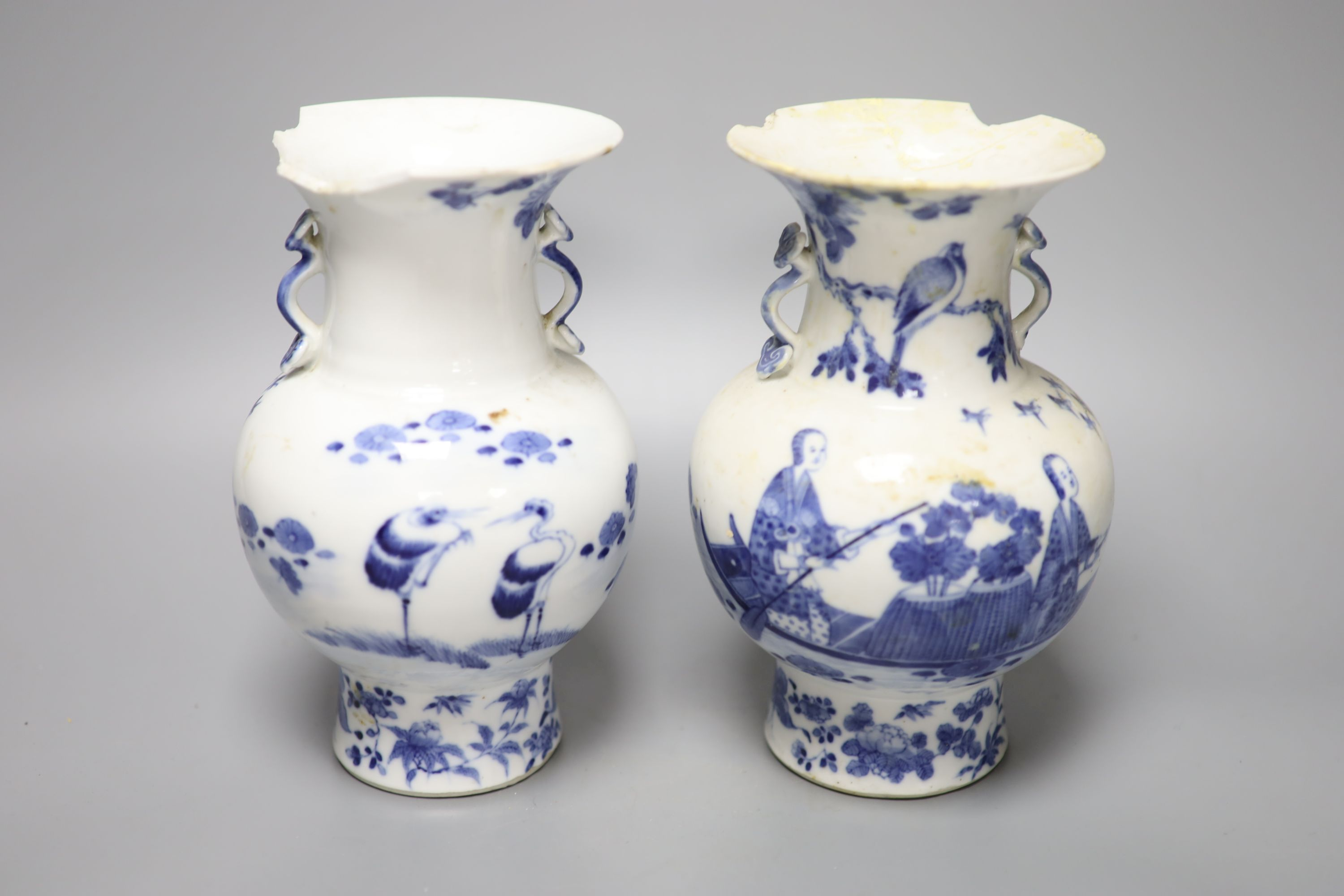 A pair of 19th century Chinese blue and white vases (a.f.), 23cm high - Image 2 of 6