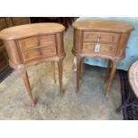 A pair of Louis XVI design walnut kidney-shaped bedside chests, width 45cm, depth 26cm, height 66cm